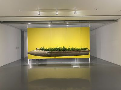 An American bombshell has been repurposed into a hanging sculpture. It hangs in front of a yellow wall with plants arranged along its centre.