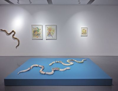 Fragments of ceramic snake sculptures are arranged on a short, flat sky-blue podium. On the wall behind, another snake is placed alongside two paintings of birds.