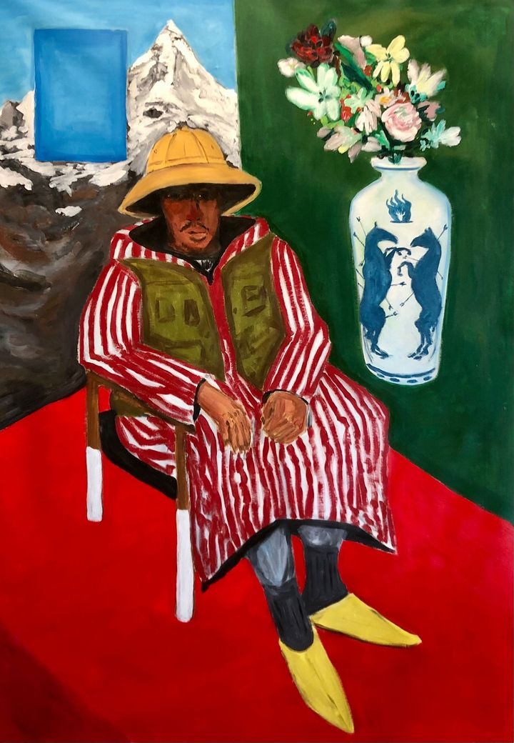 Acrylic on canvas panting of a person sitting on a chair wearing a safari hat, entitled Safi Safari by artist Anuar Khalifi