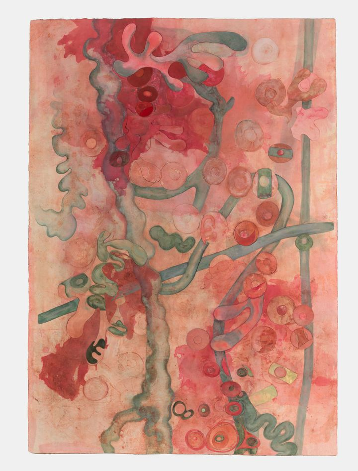 A pale pink watercolour work on paper by artist Ellen Gallagher, entitled Watery Ecstatic (2021)