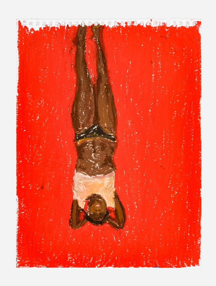 An oil on pastel figurative drawing of a Black body against a bright red background by artist Martine Syms, entitled Eventually, Finally (2021)