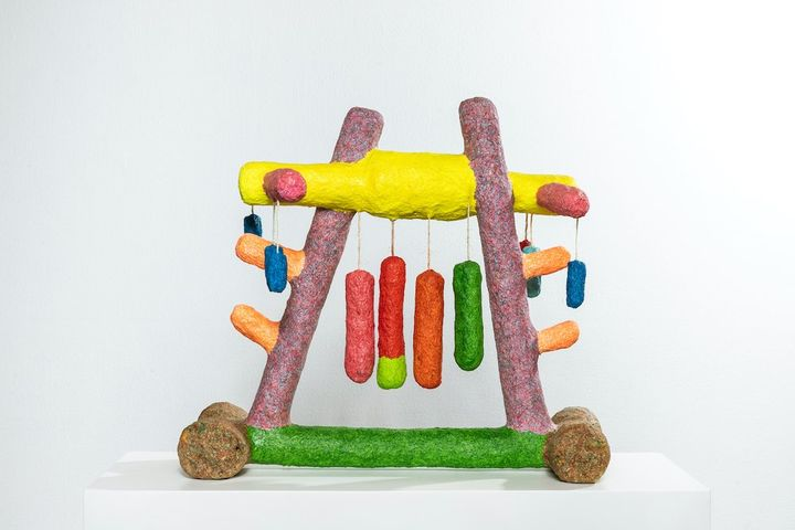 A colourful sculpture by artist Mohamed Ahmed Ibrahim
