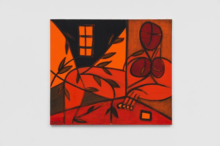 A reddish figurative abstract oil on canvas painting by artist Evelyn Nicodemus, entitled Silent Strength 37 (1990)