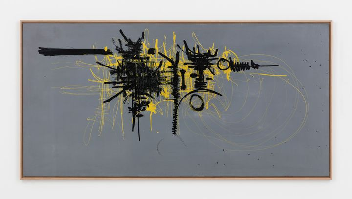 Black and yellow abstract lines feature against a grey background.