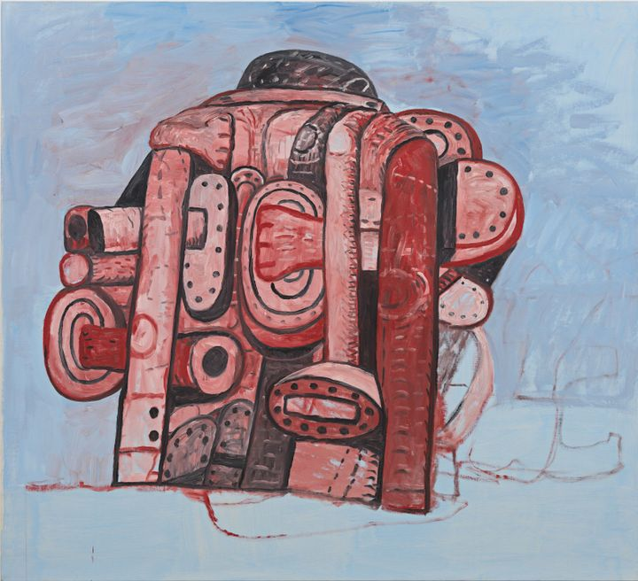 An anthropomorphic figure resembling a machine, constituting pipes and various organic shapes, is painted in shades of pink and red by Philip Guston against a light-blue background.