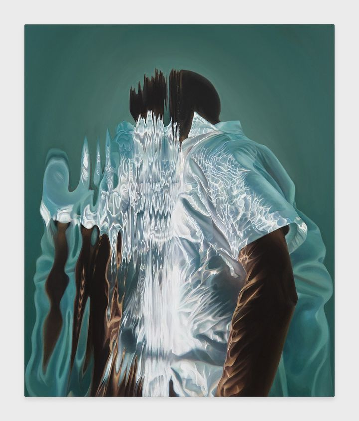 A figure in a white shirt appears to be painted as if in a pool of water, their face and the front of their chest concealed by its rippled surface.
