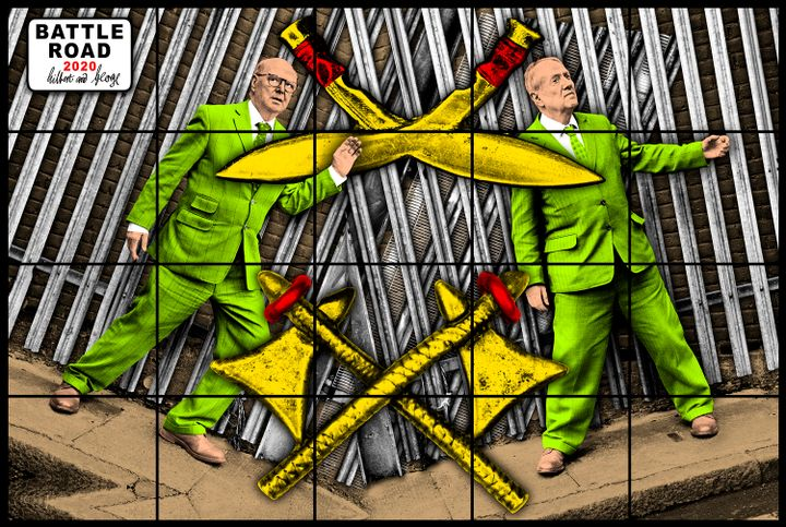 Gilbert and George are pictured in lime-green suits, a pair of yellow axes crossing above them.