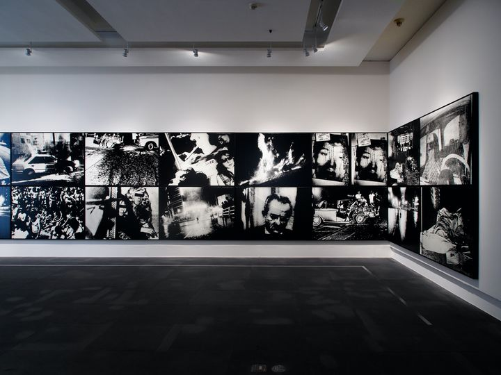 An installation image of Daido Moriyama's series of photography works titled 'Scandalous' (c. 1960/2016) in the PROVOKE –Opposing Centrism exhibition at Kuandu Museum of Fine Arts, Taipei