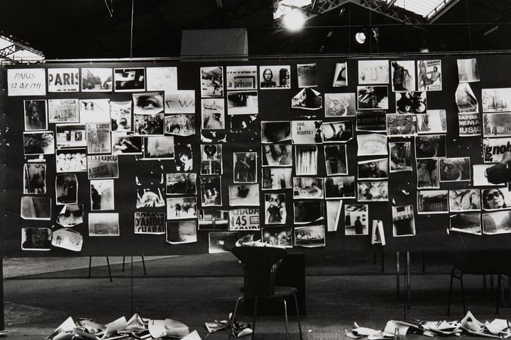 An installation of Takuma Nakahira's series of photography works titled 'Circulation: Date, Place, Events' (1971)