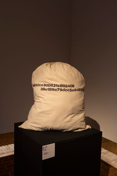 A paper money sack is placed on a black pedestal in a dimly lit gallery space.