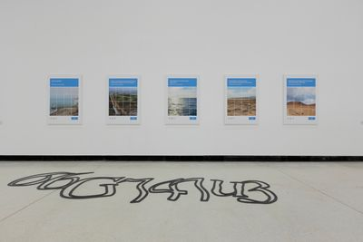 A set of five challenge–response tests from the internet have been enlarged and printed and hang on a wall in the white gallery space. On the floor in front of the images, distorted text from a CAPTCHA test is printed on the floor.