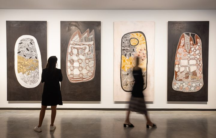 Paintings by Mulkuṉ Wirrpanda on view in The National 2021: New Australian Art, Museum of Contemporary Art Australia, Sydney (26 March–22 August 2021). Courtesy © the artist. Photo: Anna Kučera.