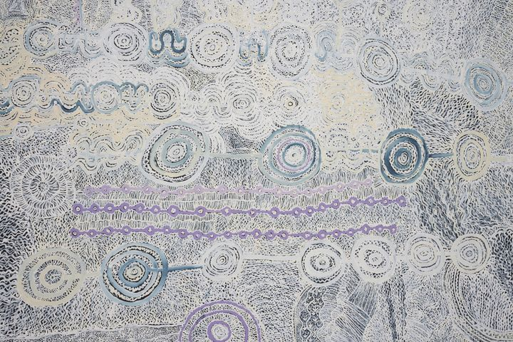 Betty Muffler and Maringka Burton, Ngangkari Ngura (Healing Country) (2020). Acrylic on linen. 300 x 500 cm. Exhibition view: The National 2021: New Australian Art, Art Gallery of New South Wales, Sydney (26 March–5 September 2021). Courtesy the artists and Iwantja Arts. Photo: AGNSW, Felicity Jenkins.