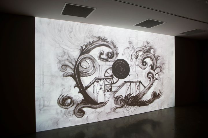 Caroline Rothwell, Carbon Emission 5, Constructivist Rococo(2020). Single-channel digital animation, loop. Exhibition view: The National 2021: New Australian Art, Museum of Contemporary Art Australia, Sydney (26 March–22 August 2021). Courtesy © the artist. Photo: Felicity Jenkins.
