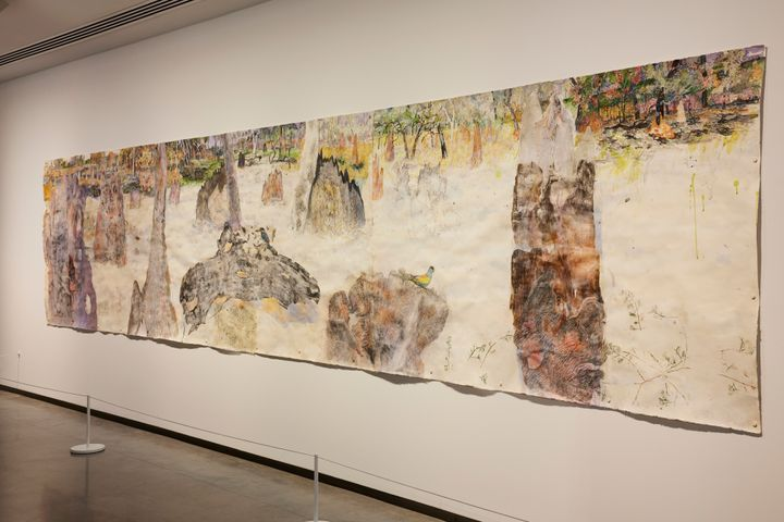 John Wolseley, Magnetic, arboreal and subterranean termite nests on the savannah plains of East Arnhem Land (2020–2021). Woodcut, linocut, etching, graphite frottage, and watercolour on cotton, Mino washi and Gampi paper. Exhibition view: The National 2021: New Australian Art, Museum of Contemporary Art Australia, Sydney (26 March–22 August 2021). Courtesy © the artist. Photo: Felicity Jenkins.