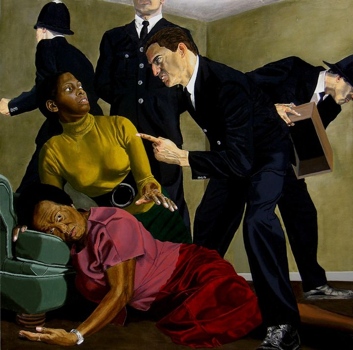 Artist Kimathi Donkor's artwork showing two new black women being oppressed by white men in suits in the artwork 'Madonna Metropolitan: The Death of Cynthia Jarrett'