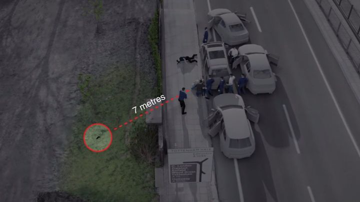 Forensic Architecture photo recreation of the gun shot situation which Mark Duggan was reportedly travelling was found.