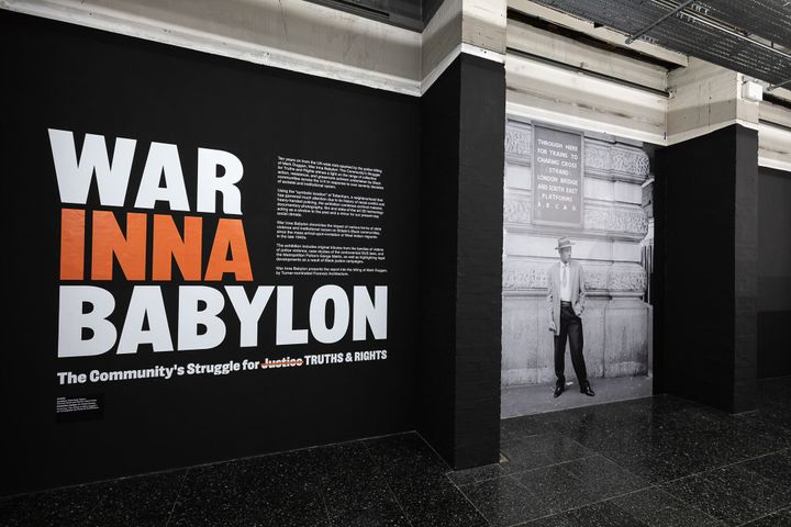 Exhibition wall saying War Inna Babylon at Institute of Contemporary Art