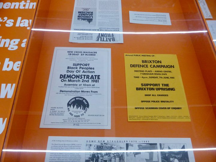 Exhibition detail of  two flyers about supporting Black people, and the other about Brexit, from the exhibition War Inna Babylon at Institute of Contemporary Art
