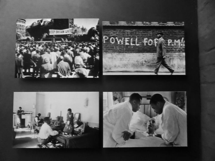 Four photos depicting struggles of the black community at the exhibition War Inna Babylon at Institute of Contemporary Art