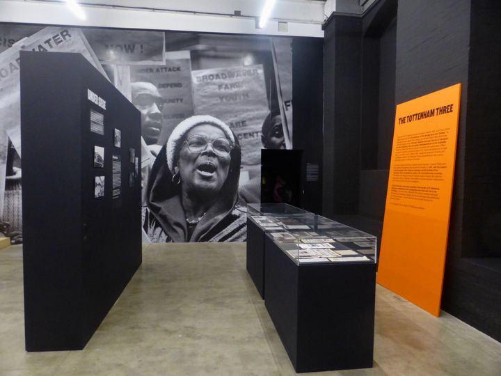 Installation wall works depicting struggles of the black community at the exhibition War Inna Babylon at Institute of Contemporary Art