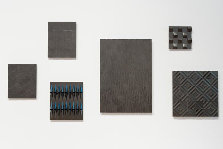 Ayesha Sultana, Skin III, Grille I, Grille II, Grille III, through/above, Vortex (2018). Graphite on paper. Exhibition view: 9th Asia Pacific Triennial of Contemporary Art (APT), Queensland Art Gallery | Gallery of Modern Art, Brisbane (24 November 2018–28 April 2019). Courtesy the artist and Queensland Art Gallery | Gallery of Modern Art. Photo: Natasha Harth.