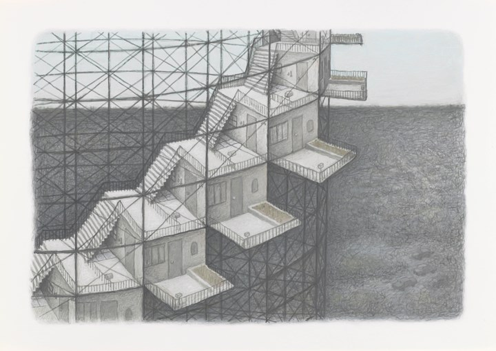 Kim Beom, Residential Watchtower Complex for Security Guards (2017). Inkjet print on cotton paper, ed. 2/8 (4 AP). 36 x 51cm. Purchased 2017. Collection: Queensland Art Gallery. Courtesy Queensland Art Gallery | Gallery of Modern Art Foundation.
