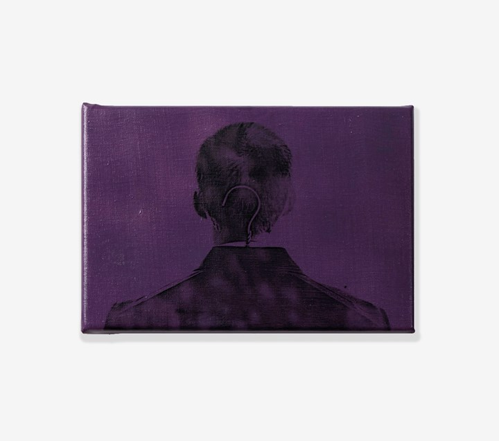 Billy Apple, Portrait of the Artist in a Drip-Dry Suit (Purple) (1964). Xerography on spray-painted linen. 19 x 27.9 cm. Photograph by Robert Freedman. Courtesy Rossi & Rossi.