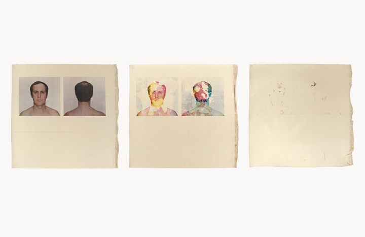 Billy Apple, Self-elimination Portrait, 27 March 1974 (1974). Offset photo-lithography on unstretched canvas, image progressively removed by applying Erasol® to zinc oxide printer's plate, three parts. 90.5 x 91 cm each. 90.5 x 273 cm overall. Photograph by Hiro, printed by Roy Crosset, Royal College of Art, London. Courtesy Rossi & Rossi.