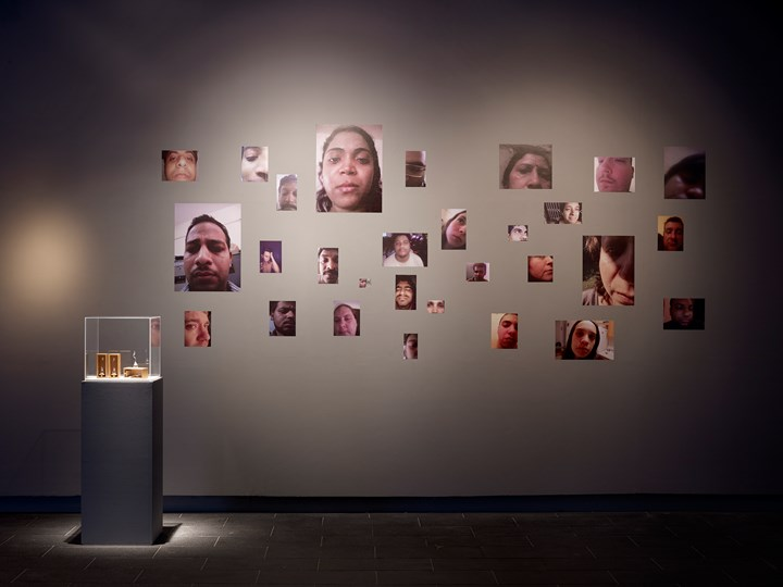 Liu Xin, When is the last time you cried? (tear bottle for online exchange) (2018–2019); Can you tear for me? (2015) (left to right). Exhibition view: Chinternet Ugly, Centre for Chinese Contemporary Art, Manchester (8 February–12 May 2019). Courtesy Centre for Chinese Contemporary Art. Photo: Michael Pollard.