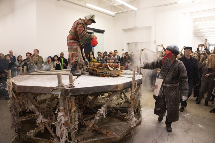 Kyzyl Tractor Art Collective, Live Performance at 'Thinking Collections: Telling Tales,' ACAW Signature Exhibition, Mana Contemporary, Jersey City (14 October 2018). Courtesy Asia Contemporary Art Week.