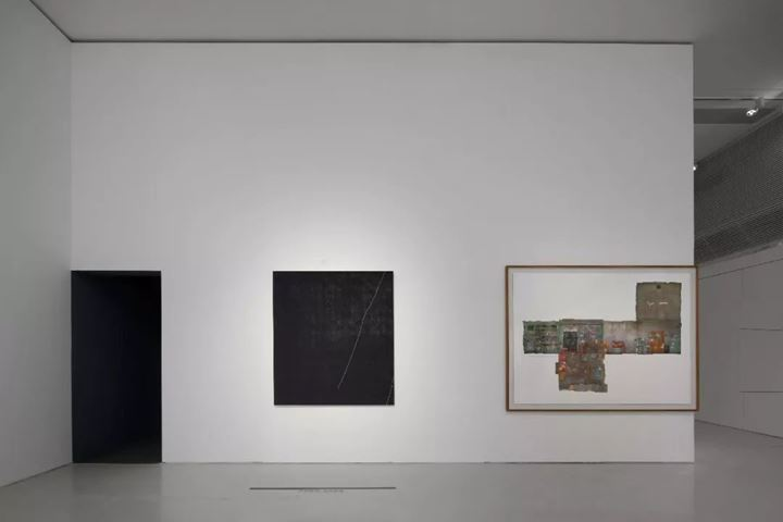 """Ma Qiusha, Fog No.9 (2012); """"Story of Space""""My Grandmother's Living Room No.1 (2007–2008) (left to right). Exhibition view: Forget Sorrow Grass: An Archaeology of Feminine Time, Times Museum, Guangzhou (14 September–17 November 2019). Courtesy Times Museum."""
