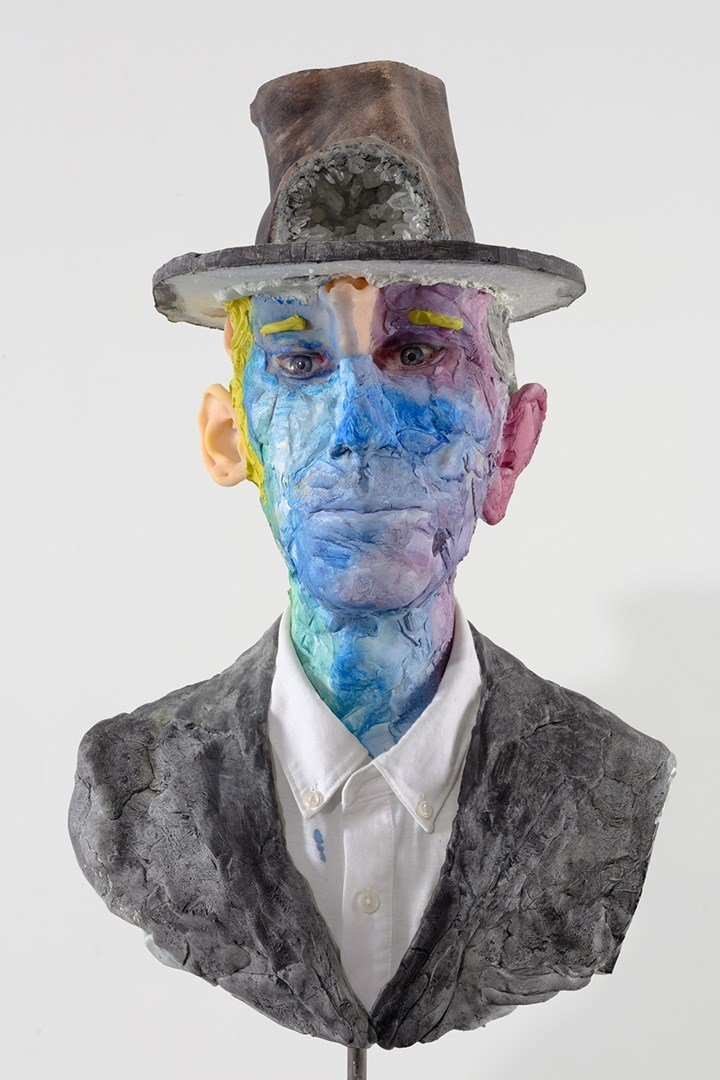 David Altmejd, Bad News (2019). Expanded polyurethane foam, epoxy clay, resin, cement, steel, cotton shirt, acrylic paint, paper, quartz, glass eyes, graphite, coloured pencil and glass gemstone. 72.4 x 30.5 x 31.1 cm. © David Altmejd. Courtesy White Cube.