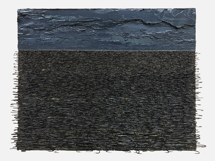 Yoan Capote, Palangre (Abandono) (2018). Oils, nails, fishhooks on linen panel on plywood. 40 x 55 x 8 cm. Courtesy the artist and Ben Brown Fine Arts.