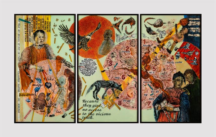 Nalini Malani, The Witness Reverse (2019). Painted triptych on acrylic. From the collection of Kasturbhai Lalbhai Museum, Ahmedabad. Courtesy Dr. Bhau Daji Lad Museum.