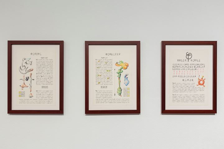 Luigi Serafini, Codex Seraphinianus (2013). Coloured pencil and ink on paper. 31.8 × 22 cm. Exhibition view: The Seventh Continent, 16th Istanbul Biennial, Istanbul (14 September–10 November 2019). Courtesy the artist.