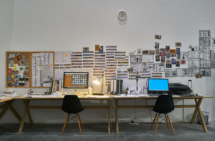 Xu Bing, Book from the Ground Studio (2003–2019). Mixed media: software, digital print on paper. Exhibition view: Xu Bing: Thought and Method, UCCA Center for Contemporary Art, Beijing (21 July–21 October 2018). Courtesy UCCA Center for Contemporary Art.
