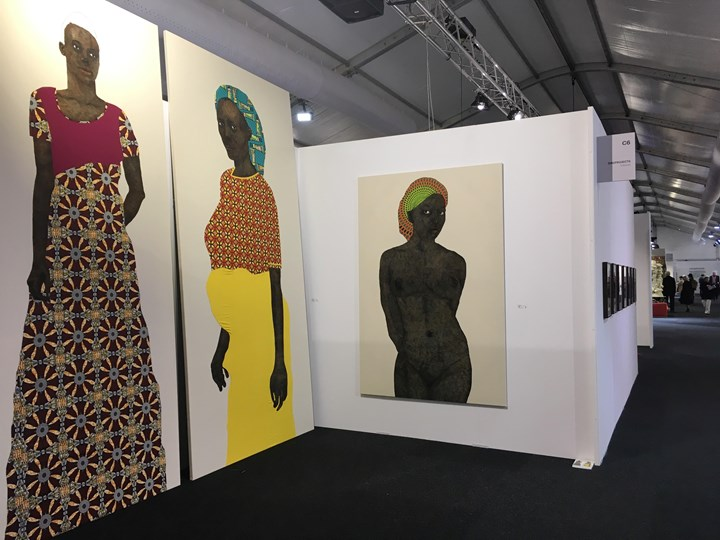 Works by Pierre Mukeba on view at GAGPROJECTS, Melbourne Art Fair, Vault Hall (2–5 August 2018). Courtesy the artist and GAGPROJECTS | Greenaway Art Gallery, Adelaide