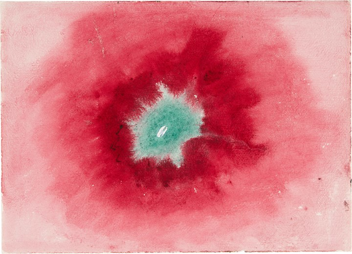 Hilma af Klint, Untitled (1920) from 'On the Viewing of Flowers and Trees (Vid betraktande av blommor och träd)'. Watercolour on paper. 17.9 x 25 cm. The Hilma af Klint Foundation, Stockholm. Photo: Albin Dahlström, the Moderna Museet, Stockholm.