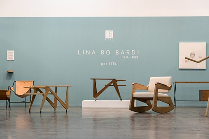 Exhibition view: Works by Lina Bo Bardi presented by ETEL at SP-Arte 2017 Design Sector. Courtesy ETEL.