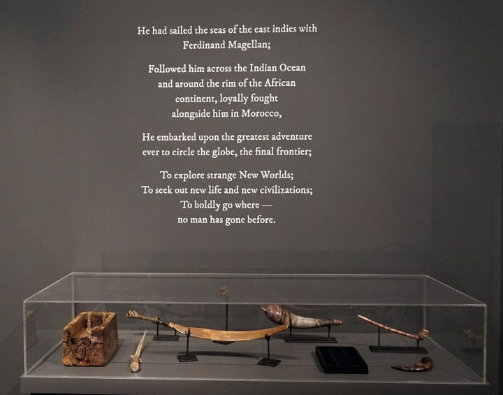 Ahmad Fuad Osman, Enrique de Malacca Memorial Project (2016–ongoing). Single-channel video projection, oil on canvas, fibreglass and resin castings, 16th century Portuguese coins, canon and canon balls, Ming Dynasty ceramics, old Malay daggers and spears, carved whale and marlin bones, rosary beads and paternoster, clothing, archival material and found objects. Dimensions variable. Exhibition view: Singapore Biennale 2016: An Atlas of Mirrors (27 October 2016–26 February 217). Courtesy the artist.