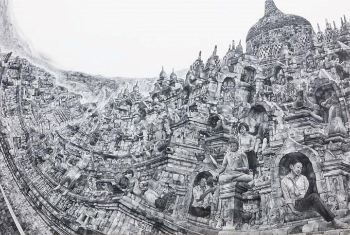 Kumazawa Mikiko, Going to Buddha's House (2018). Pencil on gesso, mounted on panel. 130.3 x 194 cm. © Kumazawa Mikiko, courtesy the artist and Mizuma Gallery.