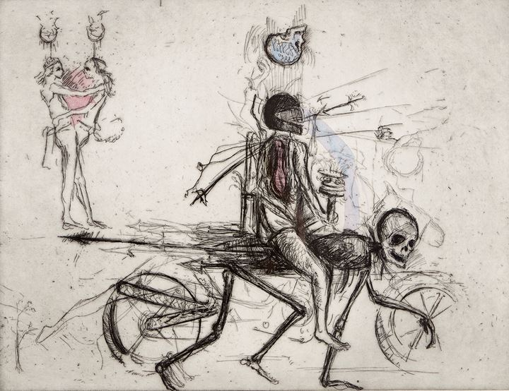Shaun Gladwell, Allegorical Study/Riding with Death (2007). Hand-coloured etching on arches paper. Courtesy the artist and Anna Schwartz Gallery, Melbourne. © the artist. Photo: Zan Wimberley.
