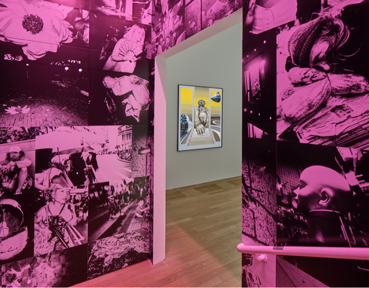 Centre: Bettina von Arnim, Verkehrswesen (1971). Oil on canvas. 150 x 130 cm; Outside: Chan Wai Kwong, Untitled 2013–2019 (2013–2019). Installation, inkjet prints. Exhibition view: Phantom Plane, Cyberpunk in the Year of the Future, Tai Kwun Contemporary, Hong Kong (5 October 2019–4 January 2020). Courtesy the artists and Tai Kwun Contemporary.