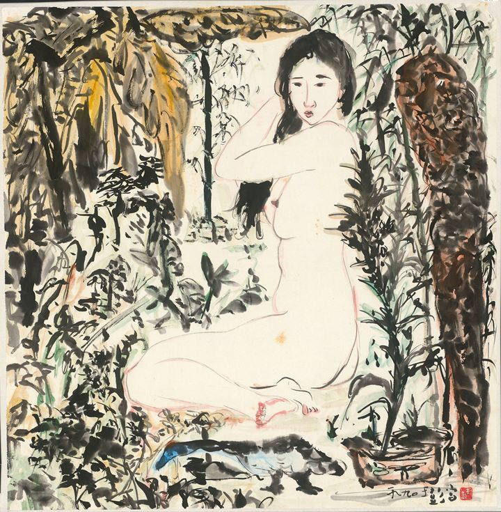 Yu Peng, Waking Up in the Morning (1990). Ink and colour on paper. 70.4 x 68.6 cm. Courtesy Liang Gallery.