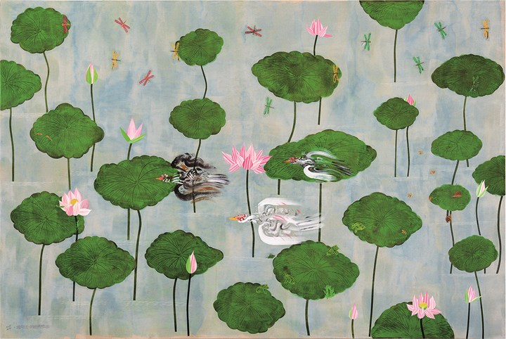 Hsia Yan, The Dashing Muscovy Ducks, Rushing through the Lotus Pond (2014). Acrylic and collage on canvas. 245 x 366 cm. Courtesy Lin & Lin Gallery.