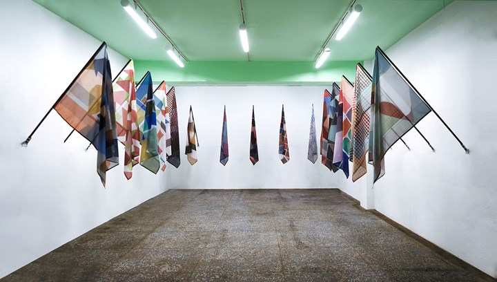 John Monteith, Kindred Spirits (2018). Installation detail, dye sublimation printed nylon, wood and brass. Dimensions variable. Exhibition view: Kindred Spirits, Taipei Contemporary Art Center (18 October–3 November 2018). Courtesy Taipei Contemporary Art Center.
