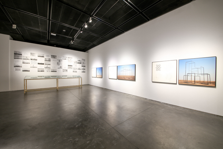 Kiluanji Kia Henda, A City Called Mirage (2013–2017); Instructions to Create Your Own Personal Dubai at Home (2013); Rusty Mirage (The City Skyline) (2013) (Left to right). Exhibition view: Starting from the Desert: Ecologies on the Edge, 2nd Yinchuan Biennale, MOCA Yinchuan (9 June–30 September 2018). Courtesy MOCA Yinchuan.