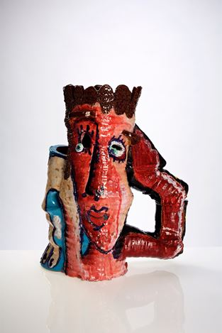 Angus Gardner, Pink Boy with Arms (2018). 46 x 37 x 18 cm. Earthenware & glaze. Courtesy Gallery 9.