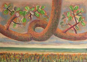 Resurrection Series (branch with leaves) by Jyothi Basu contemporary artwork